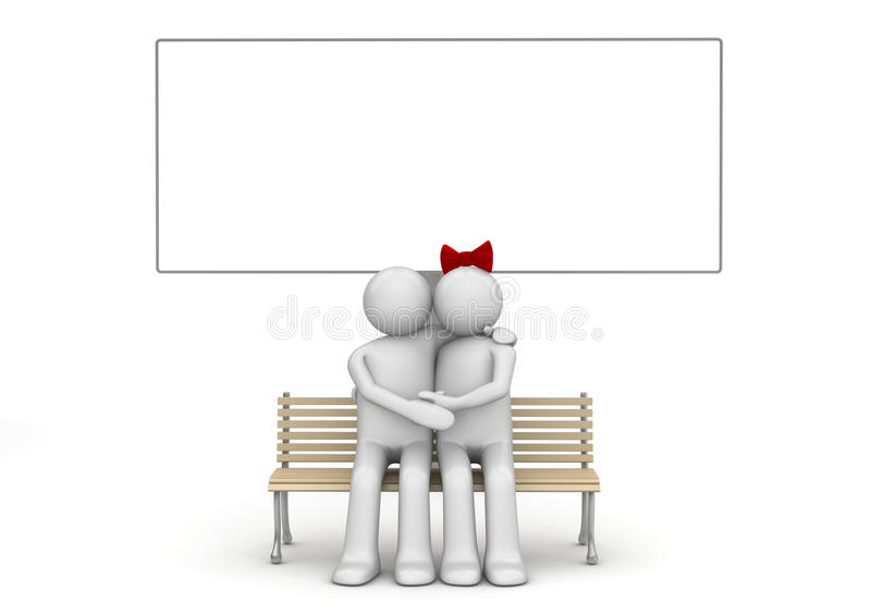 Embracing man and woman on a bench with copyspace royalty free stock photography