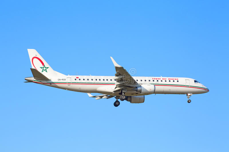 Embraer 190, Royal Air Maroc. ZURICH - JULY 18: Embraer 190, Royal Air Maroc landing in Zurich airport after short haul flight on July 18, 2015 in Zurich royalty free stock photos