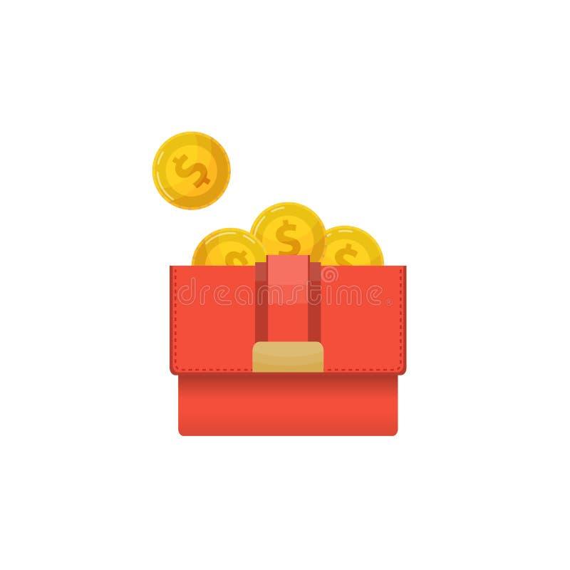 Embrague de la mujer con el icono de oro de las monedas libre illustration