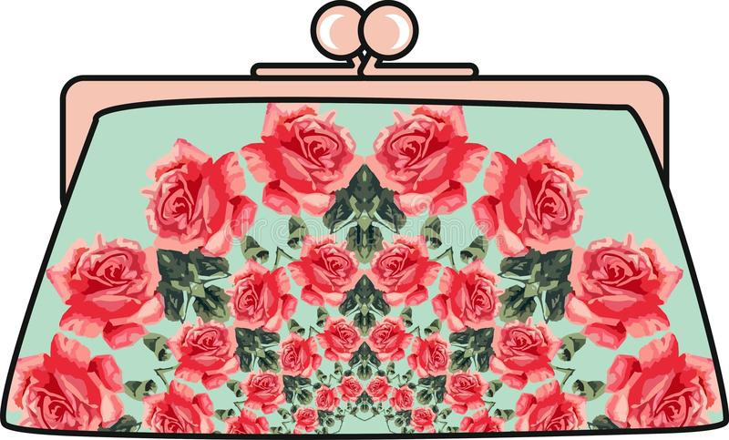 Embrague de las mujeres elegantes de la flor stock de ilustración