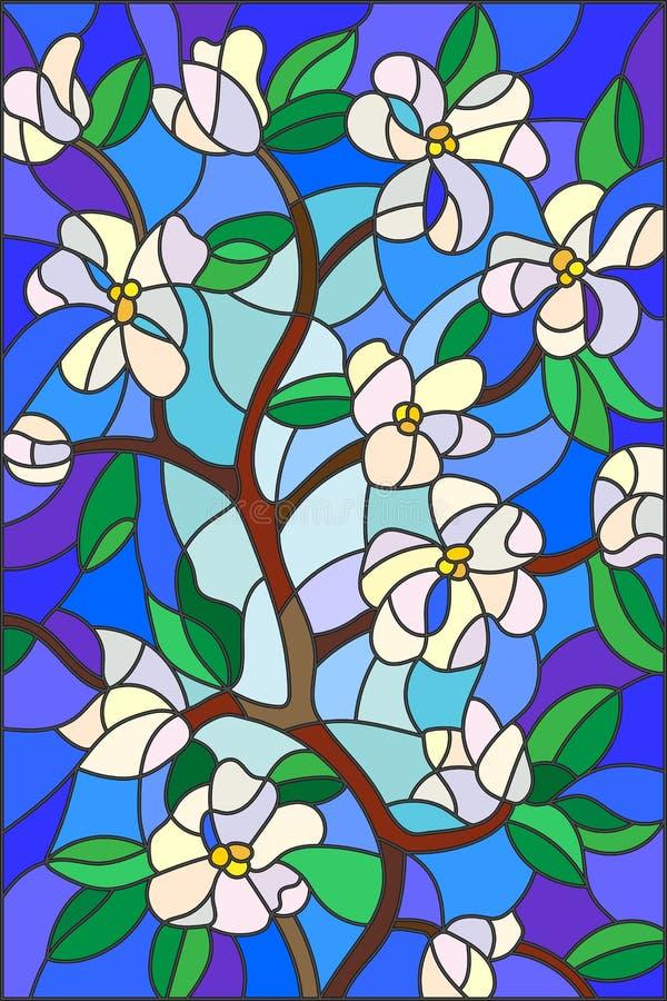 Embranchez-vous avec les fleurs de floraison, le style en verre souillé, les fleurs blanches et les feuilles sur le fond bleu illustration de vecteur