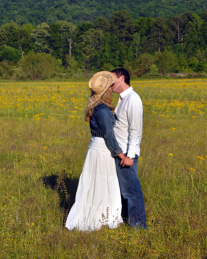 Embrassement dans le domaine des fleurs jaunes photo libre de droits