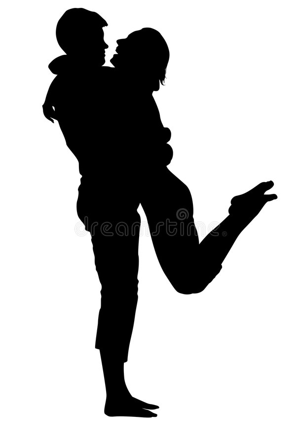 Embrassement de la silhouette de couples illustration stock