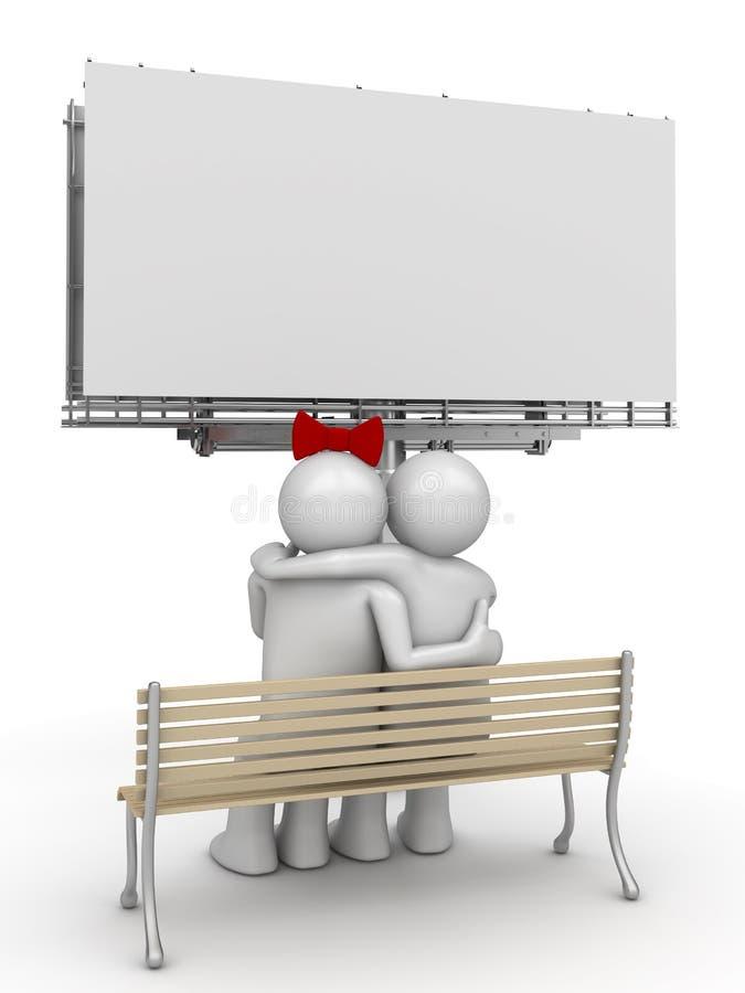 Embrassement des couples sur un banc avec le copyspace image libre de droits