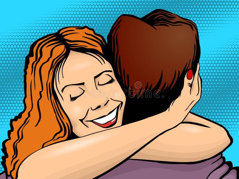 Embrassez les hommes et les femmes, style d'art de bruit rétro illustration stock