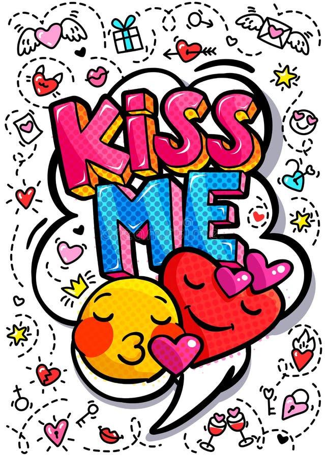Embrassez-moi bulle de mot illustration stock