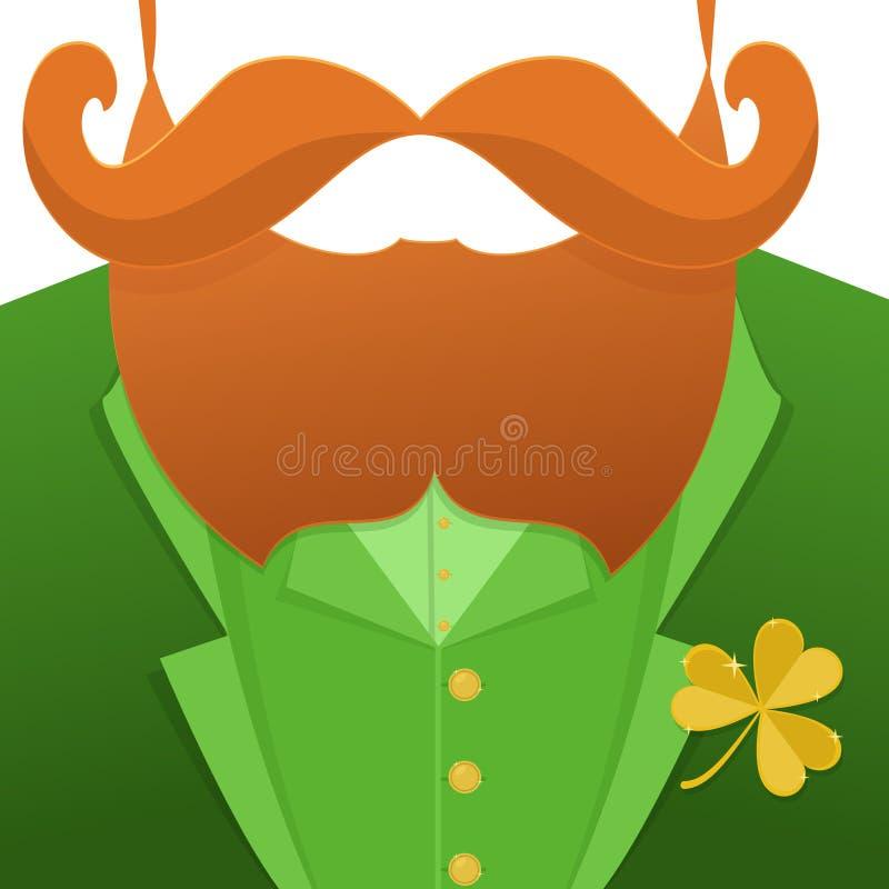 Embrassez-moi, im Irlandais Lutin de caractère de Patrick Day de saint avec le costume vert, la barbe rouge, et aucun visage Fond illustration libre de droits