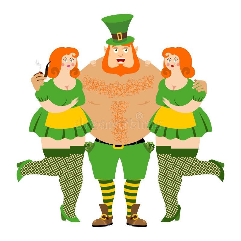 Embrassez-moi Irlandais du ` m d'I Lutin et belles filles esprit de gars dur illustration libre de droits