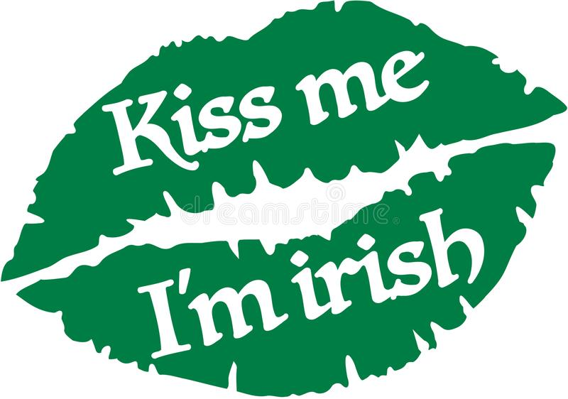 Embrassez-moi que je suis irlandais avec les lèvres vertes illustration stock