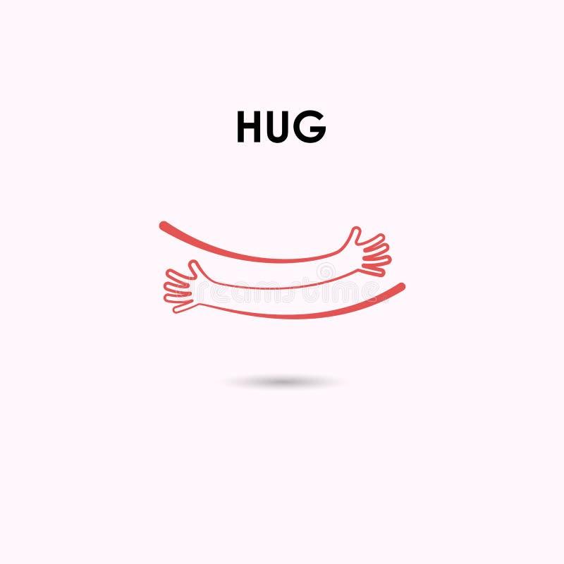 Embrassez ou étreignez le calibre de conception de logo de vecteur d'icônes Concept d'amour Va illustration libre de droits