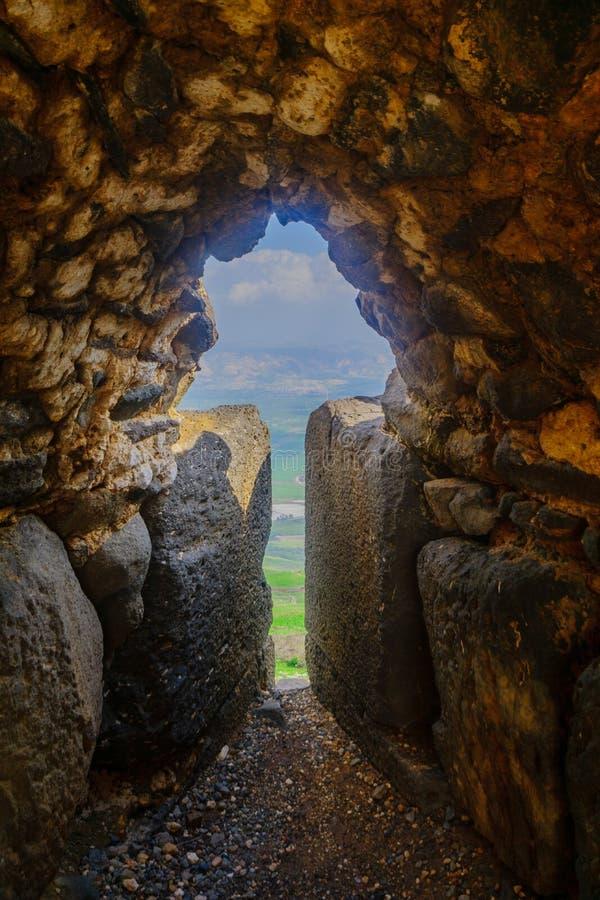 Embrasure in den Verstärkungen der Kreuzfahrer Belvoir-Festung lizenzfreies stockfoto