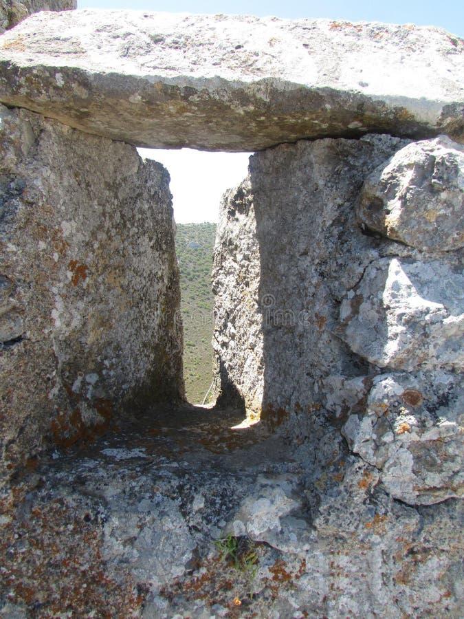 Embrasure der Festung des Kreuzfahrer-Königs Richard das Lionheart lizenzfreie stockfotografie