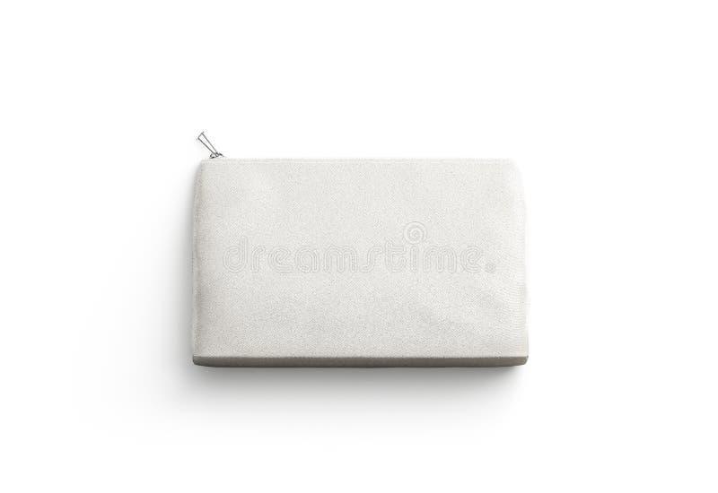 Embrayage vide de toile pour la moquerie cosmétique, d'isolement photographie stock