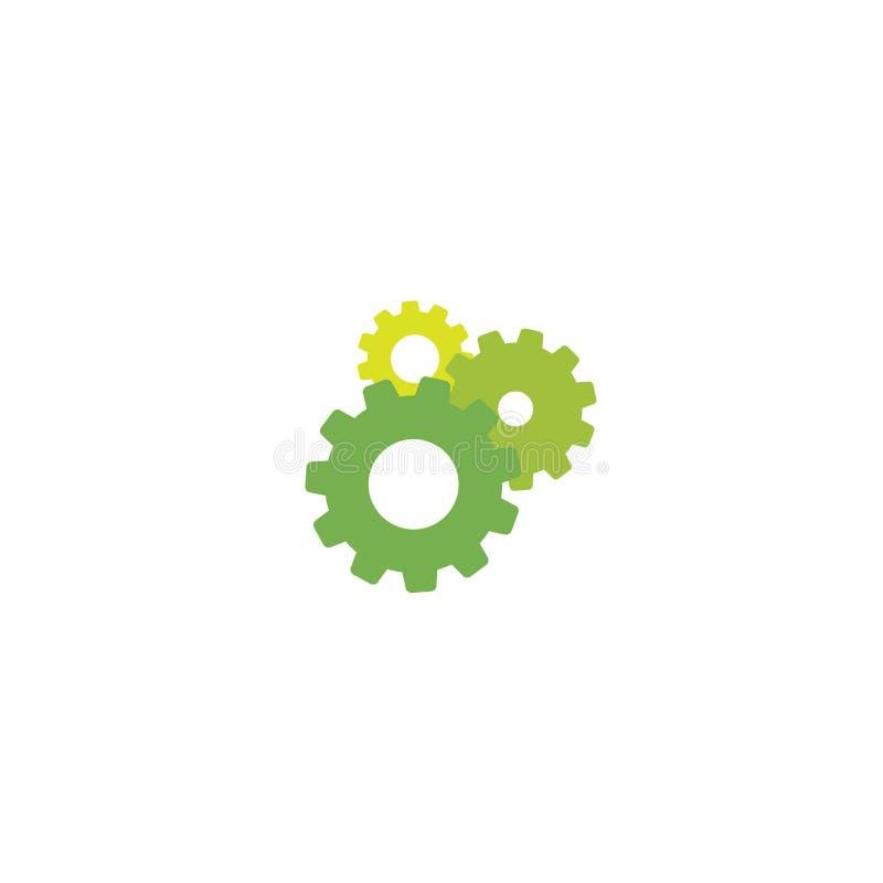 Embraye l'icône d'isolement sur le blanc Combinaison de trois pignons verts un derrière autre illustration libre de droits