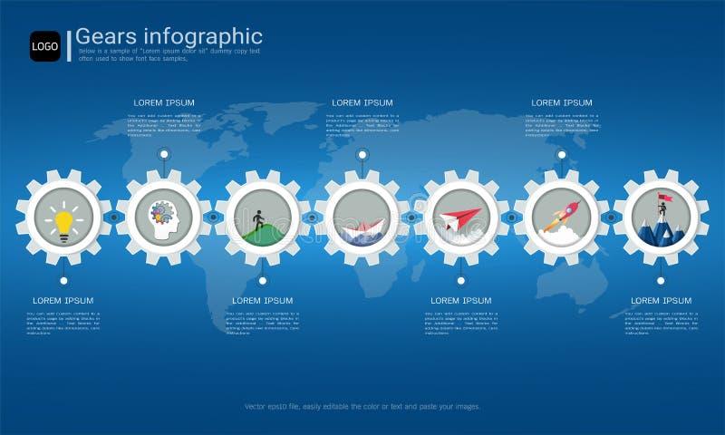 Embraye le calibre infographic pour la présentation d'affaires, plan stratégique pour définir des valeurs de société illustration de vecteur