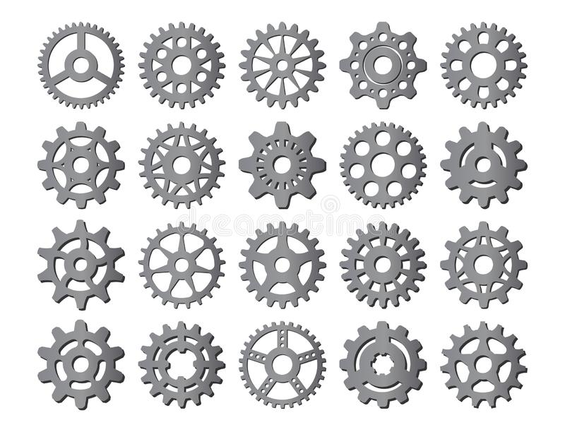 Embrayez l'illustration de vecteur d'élément de machines d'équipement de roue de moteur d'isolement par silhouette d'icônes illustration de vecteur