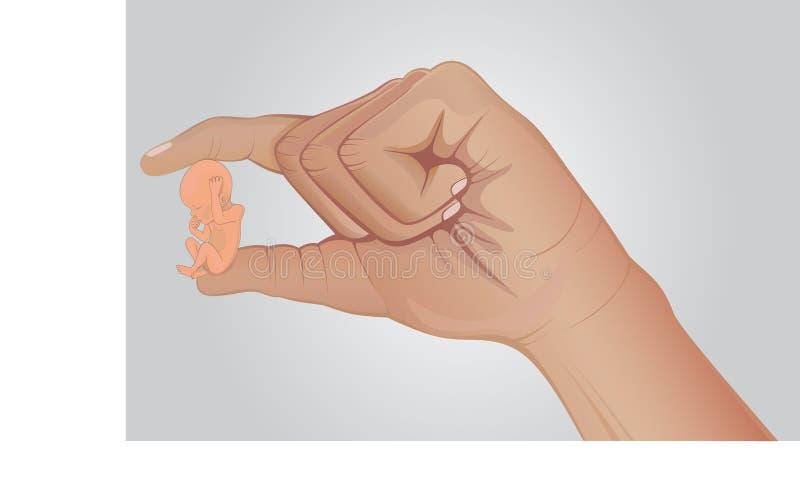 embrione Il bambino minuscolo nel suo mano il genitore Gravidanza Amore nella famiglia creativo illustrazione di stock