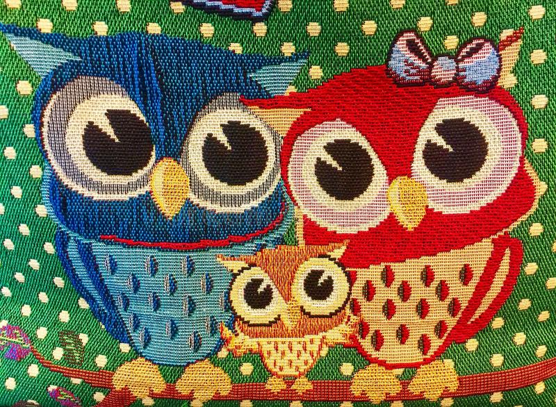 Embroider birds. Pattern on fabric stock image