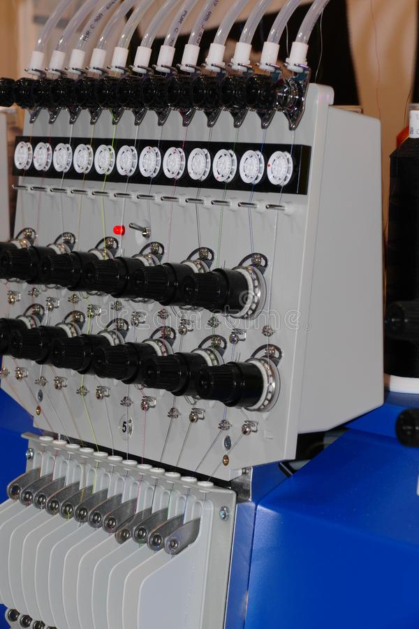 Embroider machine detail. Cnc embroider machine head detail stock images