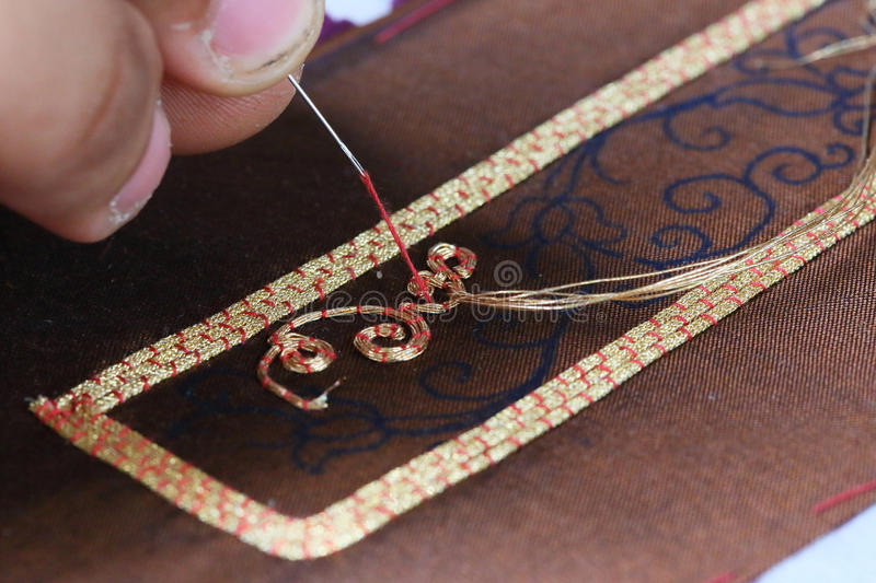 Embroider with Thai pattern. Close up royalty free stock image