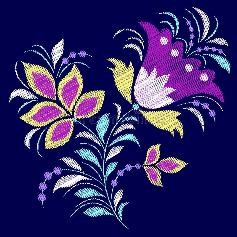 Embroidered abstract flower royalty free illustration
