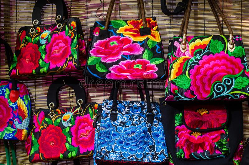 Embroidered bag. Many of the Chinese market embroidered bag stock image