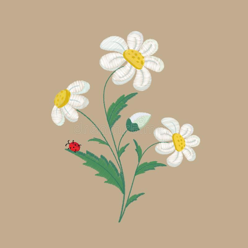 Embroidered chamomile flowers on a brown background. Vector illustration royalty free illustration
