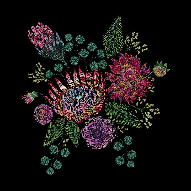 Embroidered composition with wild and garden flowers, buds and leaves. Satin stitch embroidery floral design on black vector illustration