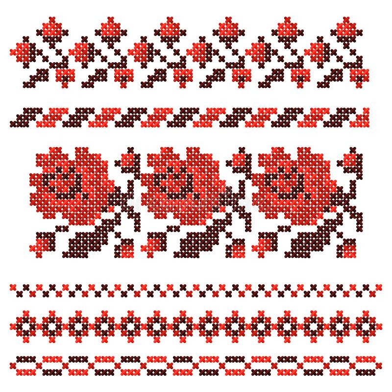 Embroidered cross-stitch ethnic Ukrainian pattern. Vector illustration. royalty free illustration