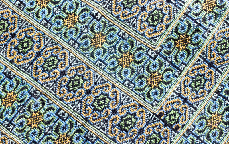 Embroidered fabric texture. Background , thailand stock photos
