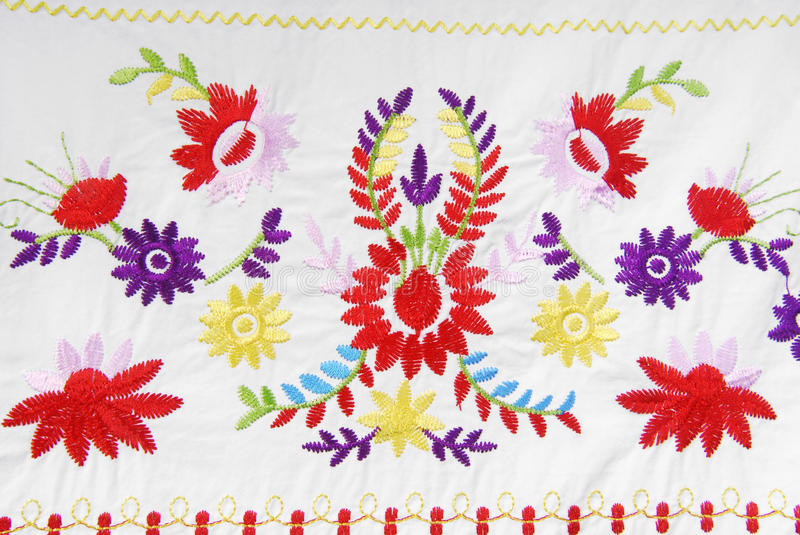 Embroidered fabric texture. In old style stock photo