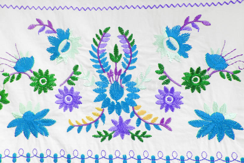 Embroidered fabric texture. In old style stock photography