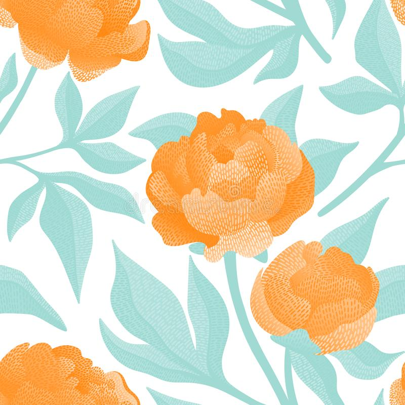 Embroidered flowers on a white background seamless pattern. Print for textiles hand-drawn peonies. Vector illustration stock illustration