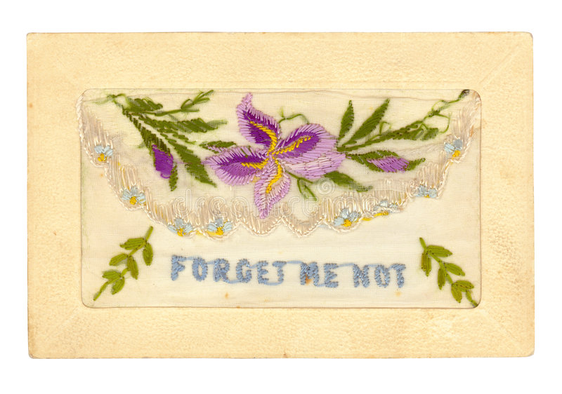 Embroidered Greeting Card. Vintage hand-embroidered greeting card, dating from the 1920's. The flap lifts to hold a small message inside the envelope. High stock photography