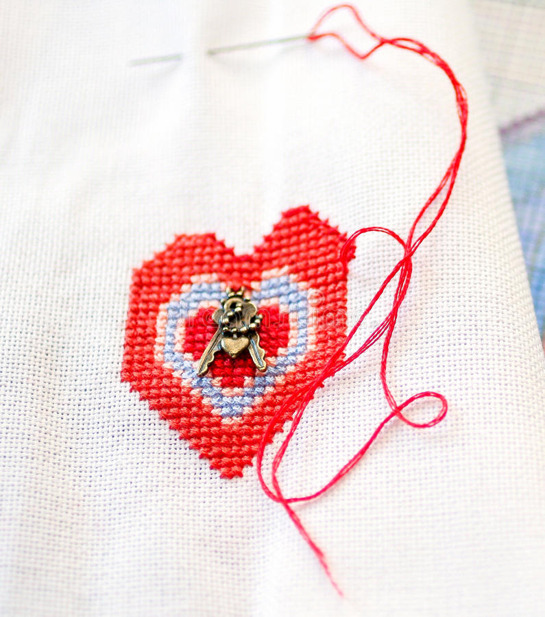 Embroidered heart stock photo