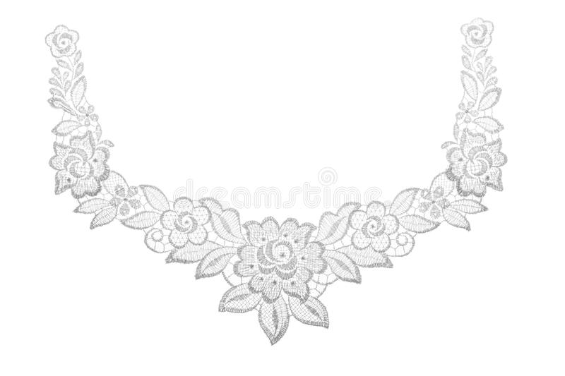 Download Embroidered Lace Trim Over White Stock Image - Image: 26897841