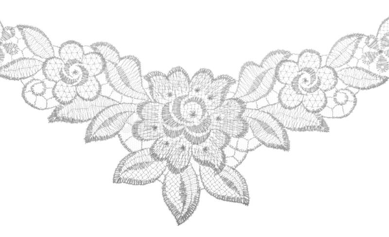 Embroidered lace trim over white. Fabric texture. Close up royalty free stock photos