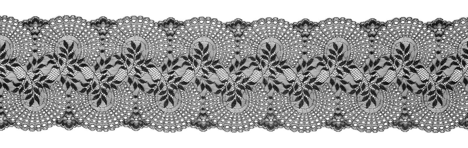 Embroidered Lace Trim Ribbon, Needlework Border, Embroidly. Fabric Pattern, Isolated Over White Background stock photo