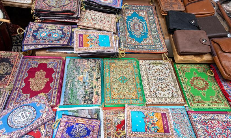 Embroidered little bag for holy books for sale at old city market, Jerusalem stock photos