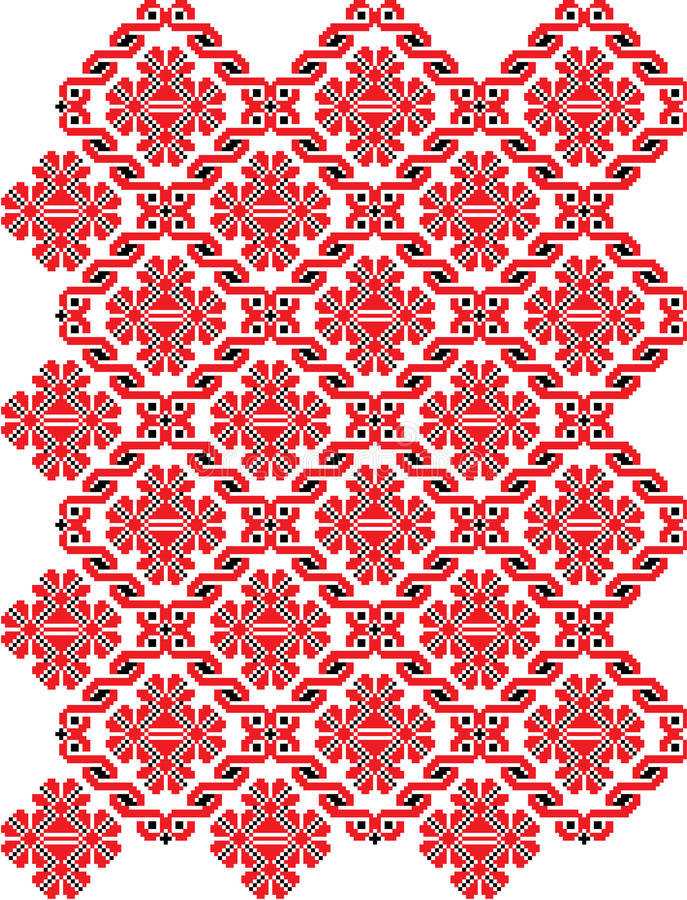 Embroidered motif. Red embroidered motif in traditional Ukrainian pattern stock illustration