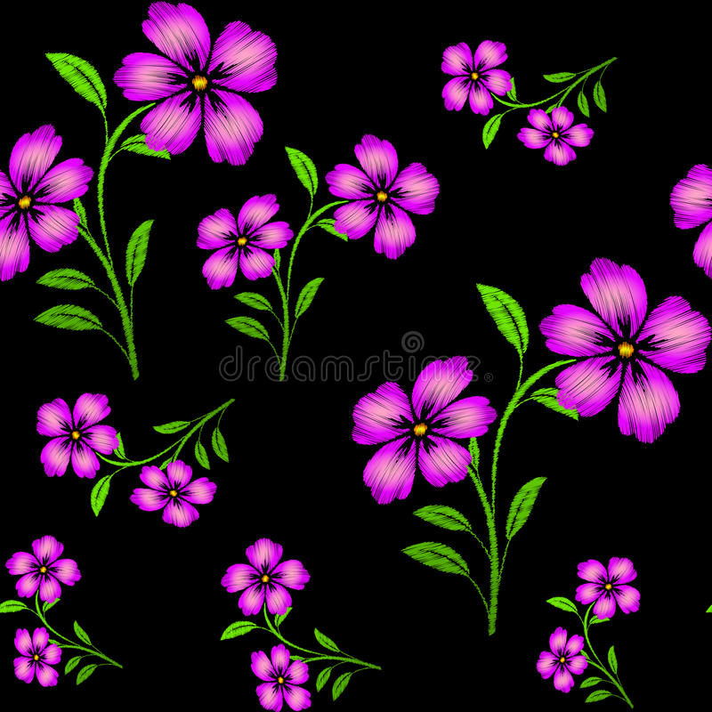 Embroidered purple flowers on black background seamless pattern royalty free illustration