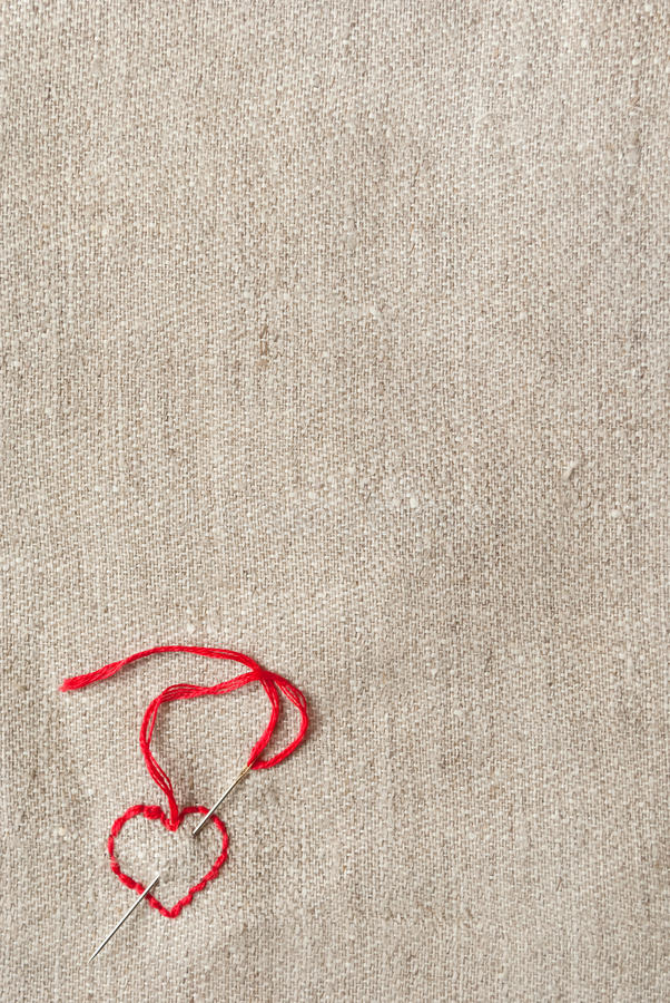 Embroidered red heart royalty free stock image