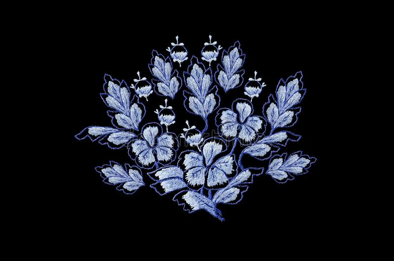 Embroidered satin stitch, bouquet of blue flowers and buds with leaves on a black background vector illustration