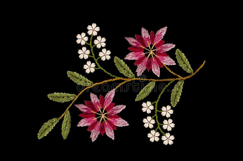 Pattern for embroidery wavy sprig with pink- red and purple cornflowers and delicate white flowers on black background. Embroidered satin stitch wavy sprig with stock illustration