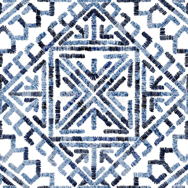 Embroidered seamless geometric pattern. Ornament for the carpet. Ethnic and tribal motifs. Colorful print of handmade. Vector royalty free illustration