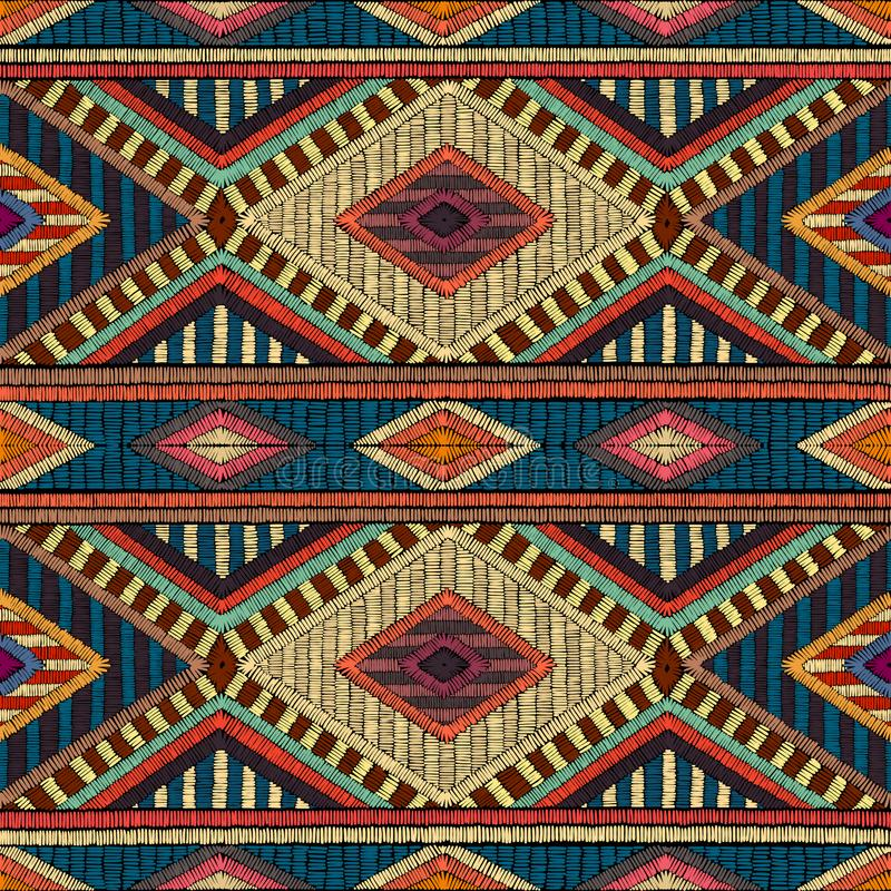 Embroidered seamless geometric pattern. Ornament for the carpet. vector illustration