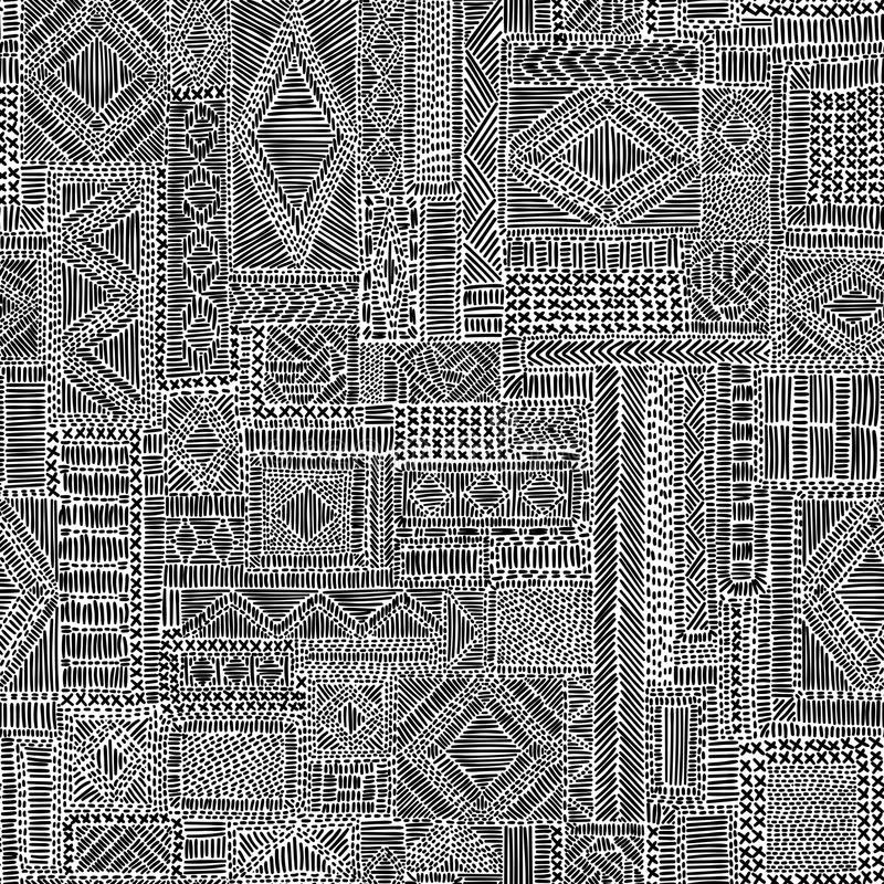 Embroidered seamless pattern. Black and white complex ornament. royalty free illustration