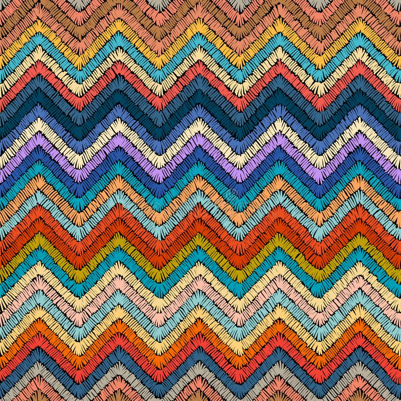 Embroidered seamless pattern. Colorful ornament. Striped stock illustration