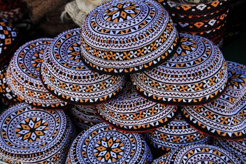 Embroidered skull-caps. Turkmenistan. Ashkhabad.  stock photography