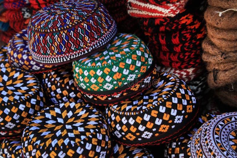 Embroidered skull-caps. Turkmenistan. Ashkhabad stock photo
